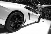 GENEVA SWITZERLAND - MARCH 12: The Lamborghini Stand displaying a side view of the