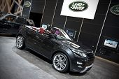 GENEVA SWITZERLAND - MARCH 12: The Land Rover Stand featuring the Range Rover Evoque convertible con
