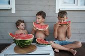 Three Brothers Eat Together Juicy Ripe Watermelon On The Veranda Of A Wooden House poster