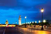 Paris At Night - Famouse Alexandre Iii Bridge And Palace Of Invalides Illuminated At Night, Paris, F poster