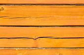 Wall Of A Log House. Log-house. Wall Of Painted Orange Logs. Square Beam. Wood Background. Country S poster