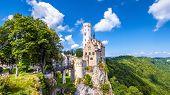 Lichtenstein Castle In Summer, Baden-wurttemberg, Germany. This Beautiful Castle Is A Landmark Of Ge poster