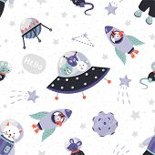 Space Animals Pattern. Cute Cartoon Baby Astronauts Seamless Print, Doodle Animals In Cosmos With St poster