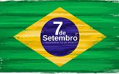 Brazilian Independence Day Holiday Celebrate Card With Paint Brush Strokes. 7de Setembro Independenc poster