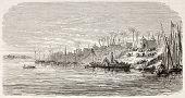 Abd el-Kader (Islamic leader) boarding in Samanoud, Egypt. Created by Gaildrau, published on L'Illustration, Journal Universel, Paris, 1863