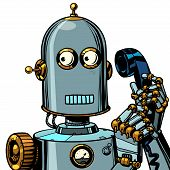 Scared Funny Robot Talking On A Retro Phone. Isolate On White Background. Pop Art Retro Vector Illus poster