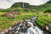 Beautiful View To Bjarnarfoss Waterfall At Snaefellsnes Peninsula On Iceland poster