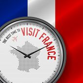 The Best Time To Visit France. Travel To France. Tourist Air Flight. Waving Flag Background And Dots poster