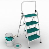 stepladder with jars from under a blue paint on a white background