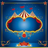 stock photo of school carnival  - Circus blue leaflet - JPG