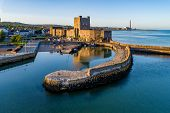 Medieval Norman Castle And Harbor In Carrickfergus Near Belfast, Northern Ireland, Uk. Aerial View   poster