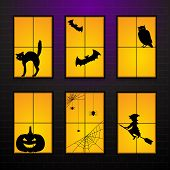 Halloween Windows In House. Set Vector Illustration Of Halloween Windows Silhouette Character Decora poster
