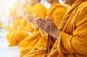 Buddhist Monks Chant Buddhist Rituals Yellow Robe poster