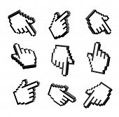 Set Of 3d Hand Pointers. Set 3d Pixel Hand. 3d Hand Cursors Icons Set. Set Hand Pointers Icons 3d Is poster