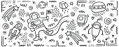 Astronaut Doodle Print. Set Of Space Objects And Symbols. Planets And Ships. Space Doodles. Future C poster