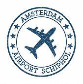 Amsterdam Airport Schiphol Logo. Airport Stamp Vector Illustration. Amsterdam Aerodrome. poster