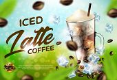 Iced Arabica Coffee Latte Promo Ad Banner, Drink Glass With Handle, Cold Brown Beverage With Ice Cub poster