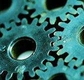 Macro detail of old gears.
