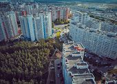 Aerial View To The Modern Residential Buildings. Exterior Of High-rise Residential Building The Faca poster