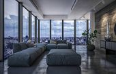 Luxury penthouse living room in evening light with wraparound glass windows overlooking the city and poster