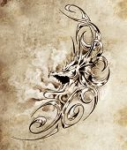 foto of woman dragon  - Sketch of tattoo art - JPG