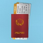 International Passport With Boarding Passes. Two Orange Airline Tickets With Red International Passp poster
