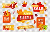 Autumn Sale Badges Collection. Fall Sales Vector Banners Labels With Red Orange Leaves Isolated On T poster