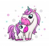 Unicorn Baby With Mom Cute Print. Sweet Tiny Pony Family. Cool Animal Friends With Polka Dot poster