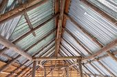 Traditional Bamboo Roof Structure. Roof Made With Leaves. Background And Texture Of Dry Leaf. Dry Le poster