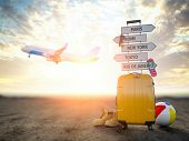 Yellow suitcase and signpost with travel destination, airplane.Tourism and  travel concept backgroun poster