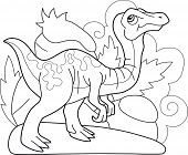 Cartoon Cute Prehistoric Dinosaur Gallimimus, Coloring Book, Funny Illustration poster