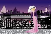 stock photo of night gown  - illustration with single woman in night city - JPG