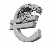 Processado a imagem de um símbolo de Euro a desintegração