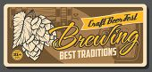 Craft Beer Festival, Brewing Traditions And Oktoberfest Traditional Vintage Poster. Vector Draught C poster