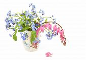 Forget-me-nots and bleeding hearts in a spring bouquet.