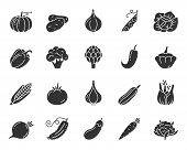 Vegetable Silhouette Icons Set. Food Symbol, Simple Shape Pictogram Collection. Vegetarian Design El poster