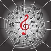 White Spider Web With Treble Clef In Center And Music Notes On Dark Background. Musical Composition  poster