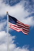 Americal Flag Blowing In Wind