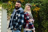 Hipster Style. Lumberjack Style. Couple Wear Checkered Clothes Nature Background. Man Bearded Hipste poster