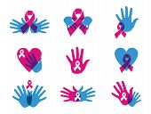 picture of causes cancer  - Breast cancer awareness ribbon transparency symbol set - JPG