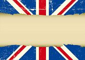 UK scratched flag. Horizontal frame on a UK grunge Flag for your text