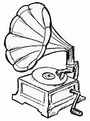 picture of hooters  - hand drawn vector sketch illustration of phonograph - JPG