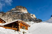 Restaurant In Mountains On The Skiing Resort Of Colfosco, Alta Badia, Dolomites Alps, Italy