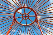 image of yurt  - installation of traditional Mongolian dwelling - Yurts ** Note: Visible grain at 100%, best at smaller sizes - JPG