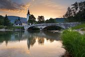 pic of freedom tower  - Ribicev Laz touristic village on lake Bohinj in national park Triglav Slovenia - JPG