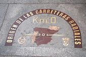 Kilometre zero sign in Madrid, Spain