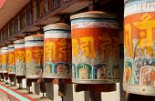 Prayer wheels at Zang Dhok Palri Phodang, in Kalimpong in West Bengal, India.