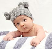 Baby In Gray Hat