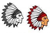 foto of indian chief  - Brave indian warrior head for mascot or tattoo design - JPG