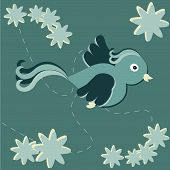 Card Design With A Flying Bird, And Flowers